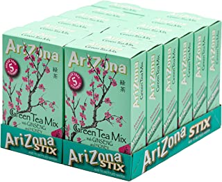 AriZona Green Tea with Ginseng Sugar Free Iced Tea Stix, Low Calorie Single Serving Drink Powder Packets, 10 Count (Pack of 12)