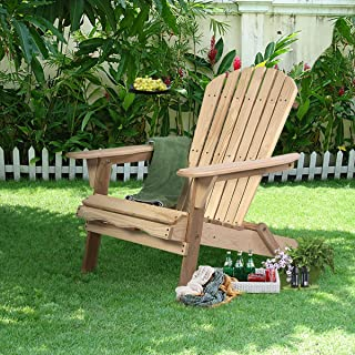 Taltintoo20 Outdoor Foldable Fir Wood Adirondack Chair, Size 31.4 x 27.9 x 34.2 inches, Weight Capacity 330 Pound, Great for Putting in The Patio, Garden, Deck, etc. Nature Color
