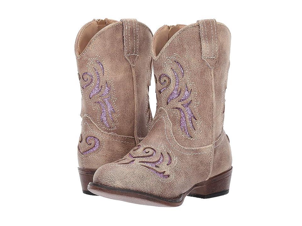 Roper Kids Lydia (Toddler) (Beige/Purple Glitter Underlay) Cowboy Boots