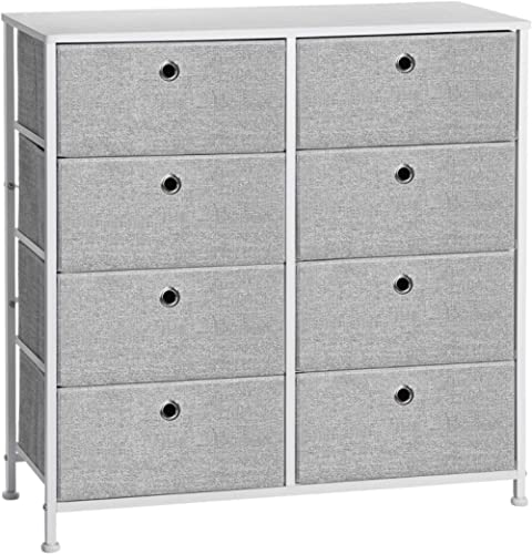 SONGMICS 4-Tier Storage Dresser with 8 Easy Pull Fabric Drawers and Wooden Tabletop for Closets, Nursery, Dorm Room, ...