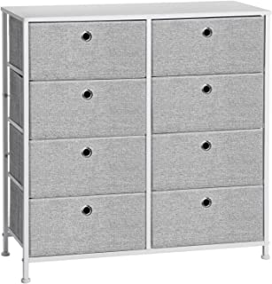 SONGMICS 4-Tier Closet Drawer, Storage Dresser with 8 Easy Pull Fabric Drawers and Wooden Tabletop, Rounded Corner for Clo...