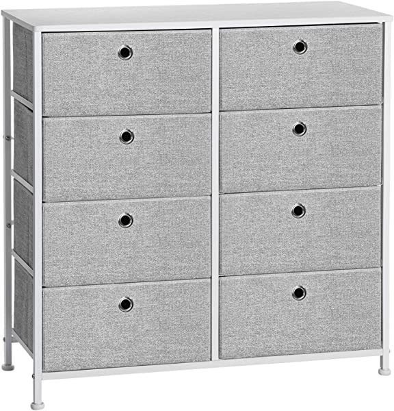 SONGMICS 4 Tier Storage Dresser With 8 Easy Pull Fabric Drawers And Wooden Tabletop For Closets Nursery Dorm Room Light Grey And White ULTS24W