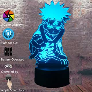Anime Japanese Uzumaki Naruto Movie Collection Figure Action 7 Color Change Night Light Boys Safe Bedroom Lamp Decor 3D Led Visual Son Little Boys Friends Birthday Surprise Gifts Kids Favor (Naruto 1)