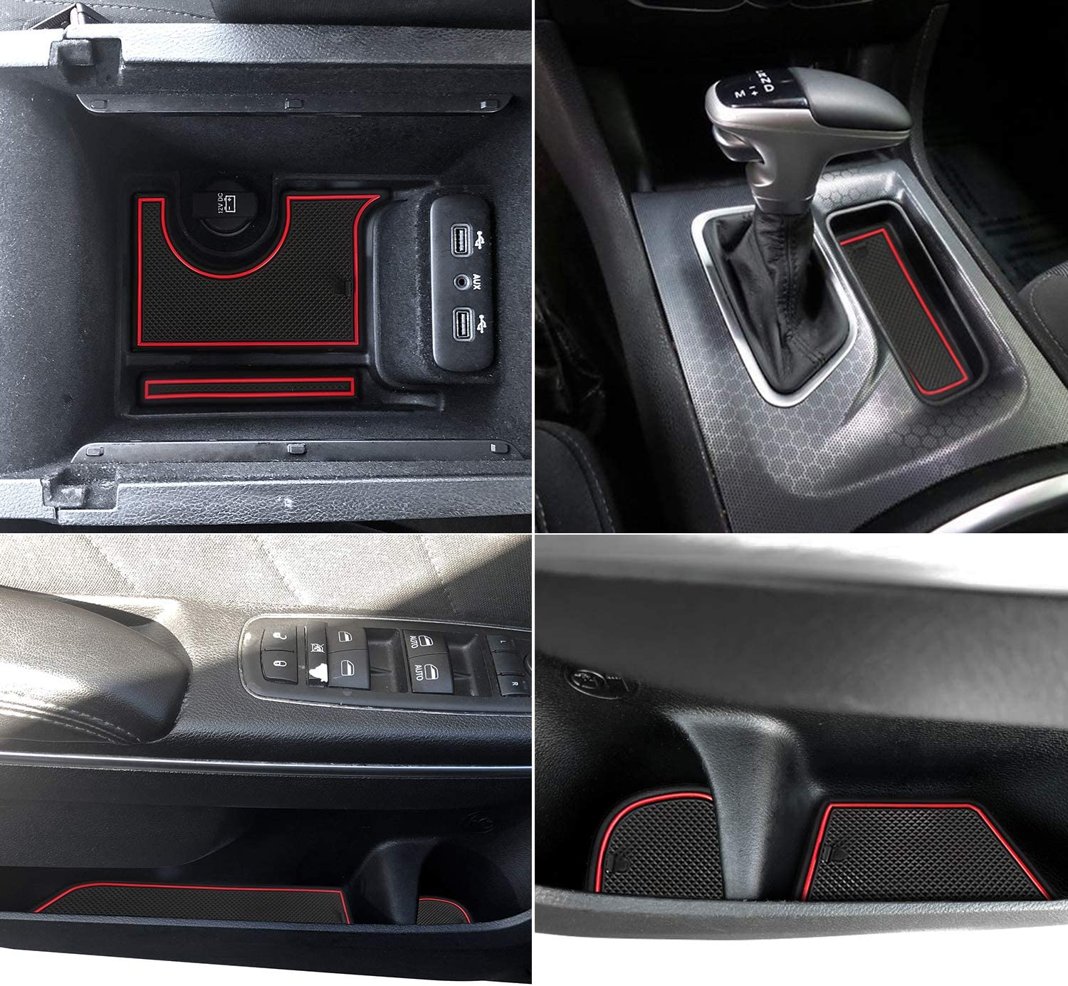 red Auovo Anti dust Mats for Dodge Charger 2015 2016 2017 2018 2019 2020 Accessories Custom Fit Door Pocket Liners Cup Holder Pads Console Mats 22pcs//Set