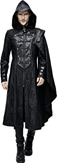 Assassin's Creed Black Leather Gothic Punk Military Cloak Coat for Men