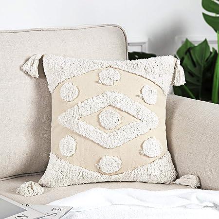 Boho Pillow covers12 x 20,18 x 18,20 x 20Cotton linen Throw pillow cover,Tassel Square Cushion Covers for Home sofa Lumbar Pillowcases