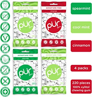 PUR 100% Xylitol Chewing Gum, Variety Pack, Sugar-Free + Aspartame Free, Vegan + non GMO, 55 Count (Pack of 4)