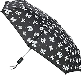 CTM Women's Auto Open and Close Color Changing Bow Print Compact Umbrella