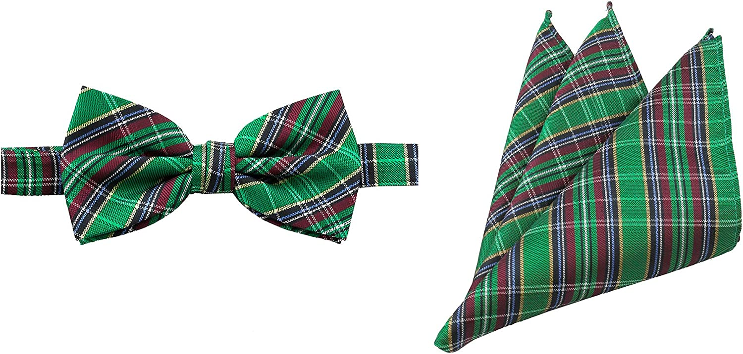 Jacob Alexander Men's Holiday Christmas Green Plaid Pre-Tied Banded Bow Tie and Pocket Square Set
