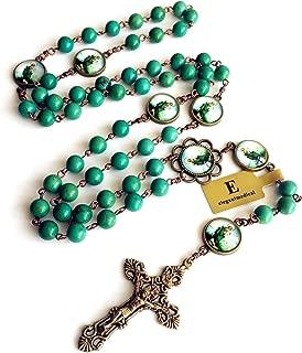 elegantmedical Handmade Vintage Turquoise Beads Catholic Jesus Christ Rosary Bronze Cross Necklace Box