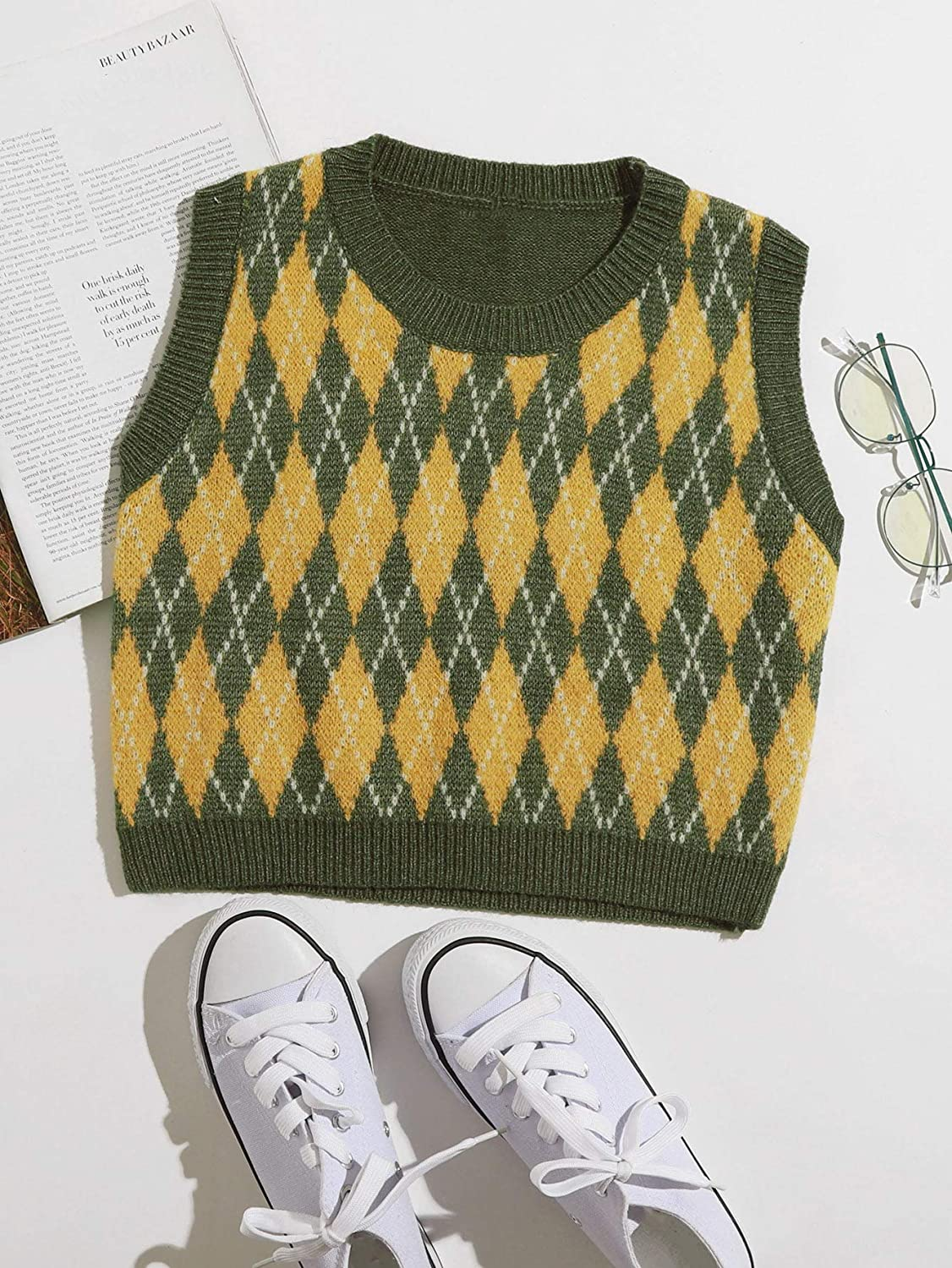 MakeMeChic Womens Solid V Neck Cable Knit Sweater Vest Sleeveless Crop Top