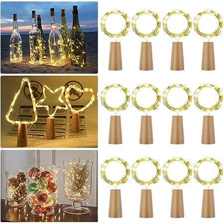 2M 20 LED Tappi LED a Batteria per Bottiglie,Filo di Rame Impermeabile Led Decorative Stringa Luci per Festa,Giardino 12 Pezzi Luci per Bottiglia Natalizie Matrimonio