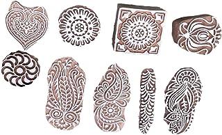 JGARTS Printing Stamps Mughal Design Wooden Blocks (Set of 9) Hand-Carved for Saree Border Making Pottery Crafts Textile P...