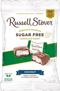 Russell Stover Sugar-Free Coconut Chocolate Candy, 3 Ounce Peg Bag (Pack of 12)