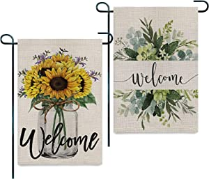 AIXIULEIDUN Welcome Garden Flag 12 x 18 Double Sided - Welcome Decorations for Home - Welcome Yard Spring Outdoor Decor