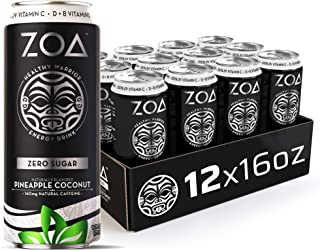 ZOA, Zero Sugar Energy Drink, Pineapple Coconut, 16 fl. oz. (Pack of 12) - Supports Healthy Immunity, Focus, Hydration, Bo...