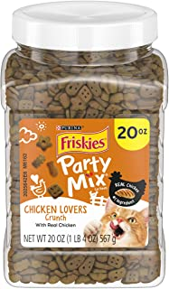 Purina Friskies Party Mix Favorites, Lip Lickin' Chicken Flavor, 20-Ounce Canister, Pack of 1