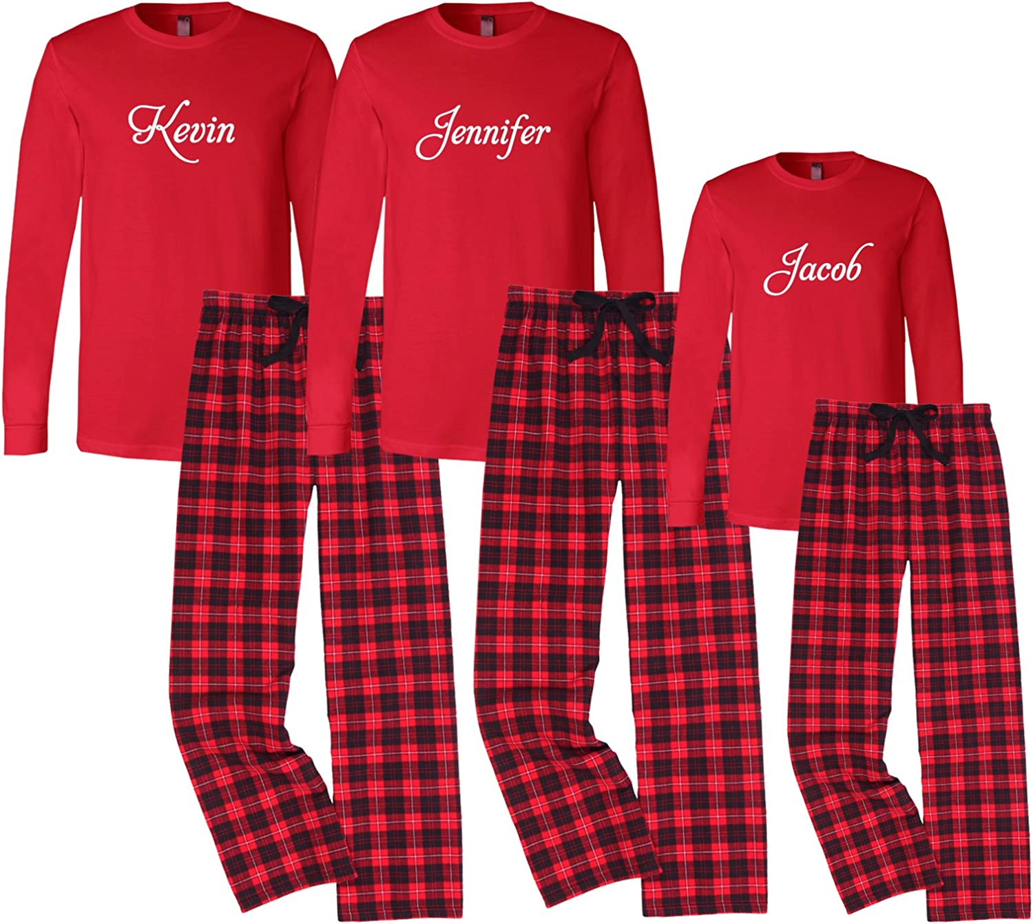 Set of 3 Personalized Family Christmas Pajamas  Black and Red