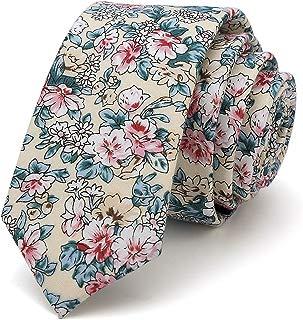 Men's Skinny Floral Tie Cotton Necktie. Great for Wedding Groom Groomsmen Missions Dances Gift
