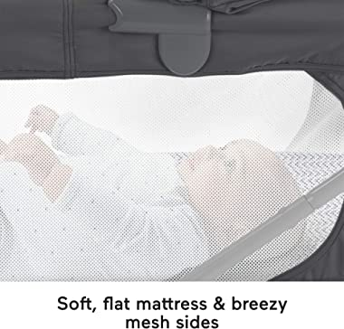 Fisher-Price Soothing View Projection Bassinet – Pencil Strokes, Folding Portable Baby Cradle with Projection Light for Newbo
