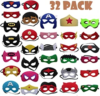 TATAFUN Máscaras de SuperhéroeSuministros de Fiesta de Superhéroes Máscaras de Cosplay de Superhéroe con Cuerda Elástica Máscaras de Ojos para Niños Mayores de 3 años 32 Piezas