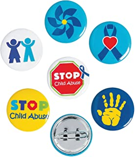 Fun Express - Child Abuse Awareness Mini Buttons - Jewelry - Pins - Novelty Buttons - 48 Pieces
