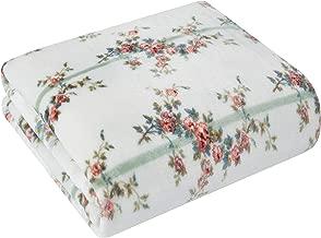 Shabby Chic Rachel Ashwell Eleanor Floral Print Royal Plush Faux Velvet Vintage Farmhouse Decorative Throw Blanket, 50X60, White