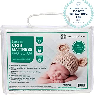 Ultra Soft Crib Mattress Protector Pad by Margaux & May – Waterproof –..