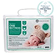 Ultra Soft Crib Mattress Protector Pad by Margaux & May - Waterproof - Noiseless - Dryer Friendly - Deluxe Bamboo Rayon - Fitted, Quilted - Stain Protection Baby Cover