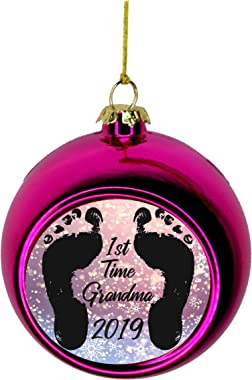 Lea Elliot Inc. New Baby - 1st Time Grandma 2019 First Bauble Christmas Ornaments Pink Bauble Tree Xmas Balls