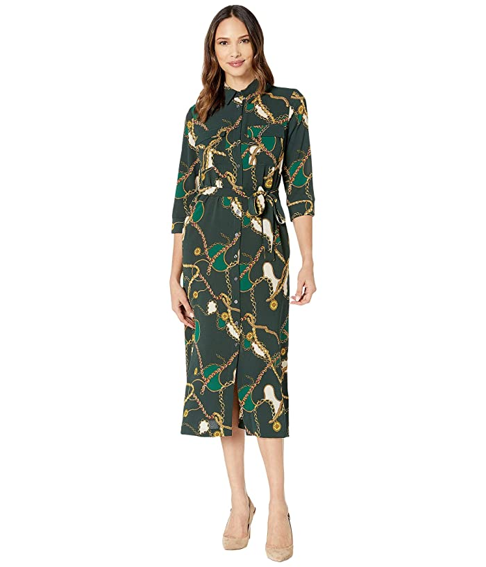 Donna Morgan  Status Print 3/4 Sleeve Lightweight Stretch Crepe Collared Shirtdress (Green Cali Chain) Womens Clothing