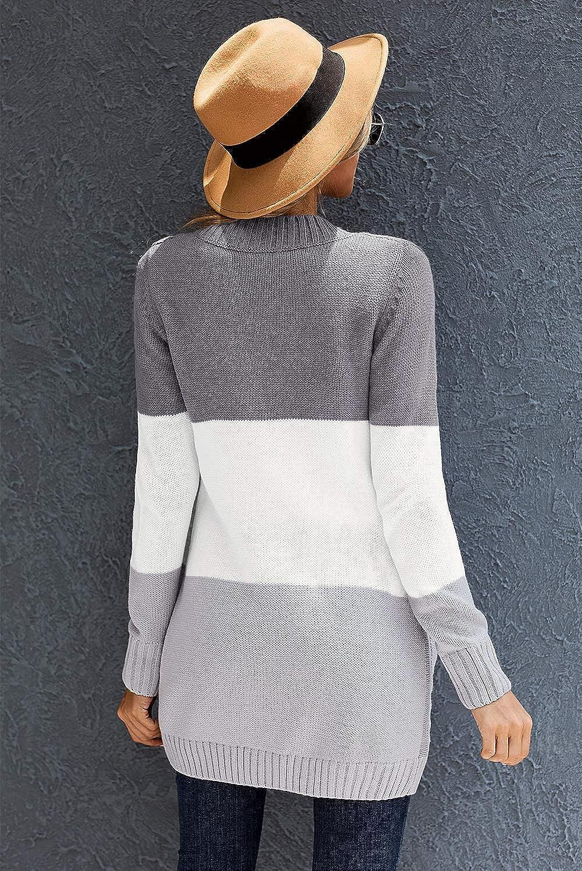 Sidefeel Women Open Front Cardigan Sweater Button Down Knit Sweater Coat