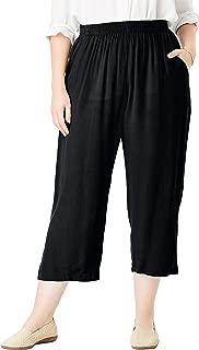 Woman Within Women's Plus Size Crinkle Capri Pant