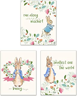 Peter Rabbit Nursery Prints - Set of 3 (8x10) Adorable Classic Family Quotes Botanical Floral Wall Art Decor