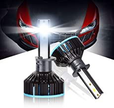 Max5 H1 Led Headlight Bulbs Plug and Play Conversion Kit 10000LM 6500K 360 Degree Adjustable Beam Extremely Bright Xenon White, Vehicle Halogen Light Replacement