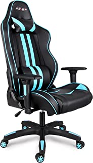 Jamswin Gaming Chair Ergonomic Large Size High Back Adjustable PU Leather Video Game Chairs Blue