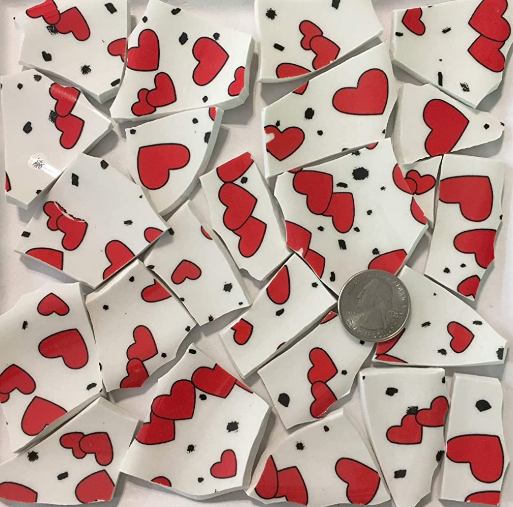 Mosaic Art & Crafts Supply ~ Red Hearts on White Tiles (B687)