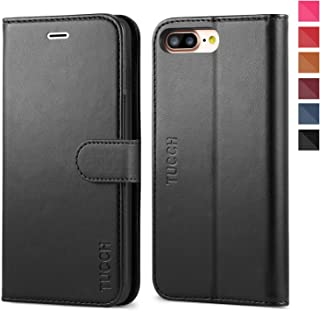 iPhone 8 Plus Wallet Case, iPhone 7 Plus Case, TUCCH Premium PU Leather Flip Folio Case with Card Slot, Stand Holder, Magnetic Closure [TPU Shockproof Interior Case] Compatible iPhone 7/8 Plus, Black