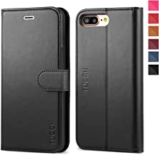 iPhone 8 Plus Wallet Case, iPhone 7 Plus Case, TUCCH PU Leather Flip Folio Case with Card Slot, Stand Holder, Magnetic Closure [TPU Shockproof Interior Case] Compatible iPhone 7 Plus/8 Plus, Black