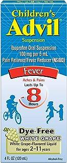 Children's Advil Suspension (4 fl. oz, White Grape-Flavored), 100mg Ibuprofen Fever Reducer/Pain Reliever, Dye-Free, Liquid Pain Medicine, Ages 2 – 11