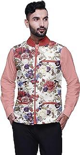 Atasi Casual Jacket for Men Printed Nehru Jacket Mens Wedding Indian Waistcoat Mandarin Blazer