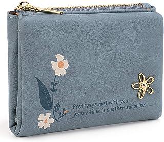 UTO Femme Portefeuille Porte-Monnaie Pression de Ceinture en PU Cuir Mat Bleu