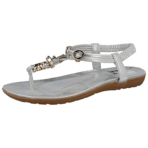 548ea3a6e Shoes By Emma Ladies Emma Faux Leather Metallic Toe Post Sling Back Low  Wedge Flat Summer