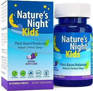 Nature's Night Kids Plant-Based Melatonin, Natural Grape Flavored, 60 Chewable Tablets, Gluten Free, Non-GMO, Drug Free, V...