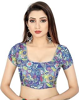 Ocean Fashion Printed Round Neck Readymade Saree Blouse For Women's