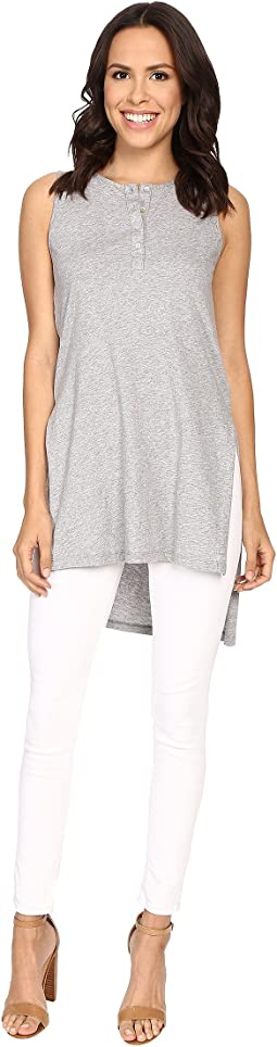 Supreme Jersey Henley Tunic With Side Slits