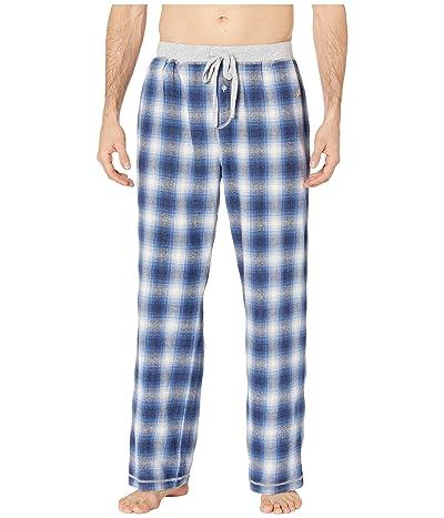 True Grit Melange Shadow Plaid Flannel Pajama Pants with Heather Knit Trim (Blue) Men
