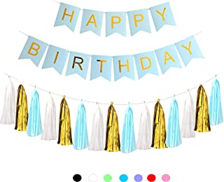 Happy Birthday Banner for Boy's Blue and Gold + 15 pcs. Tissue Paper Garland. Birthday Decorations Set. Color Variations.(Light Blue) by IBB.
