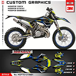 Kungfu Graphics Custom Decal Kit for Husaberg FE TE 125 250 300 350 450 501 2013 2014, Black White Blue,HGFTE1314001