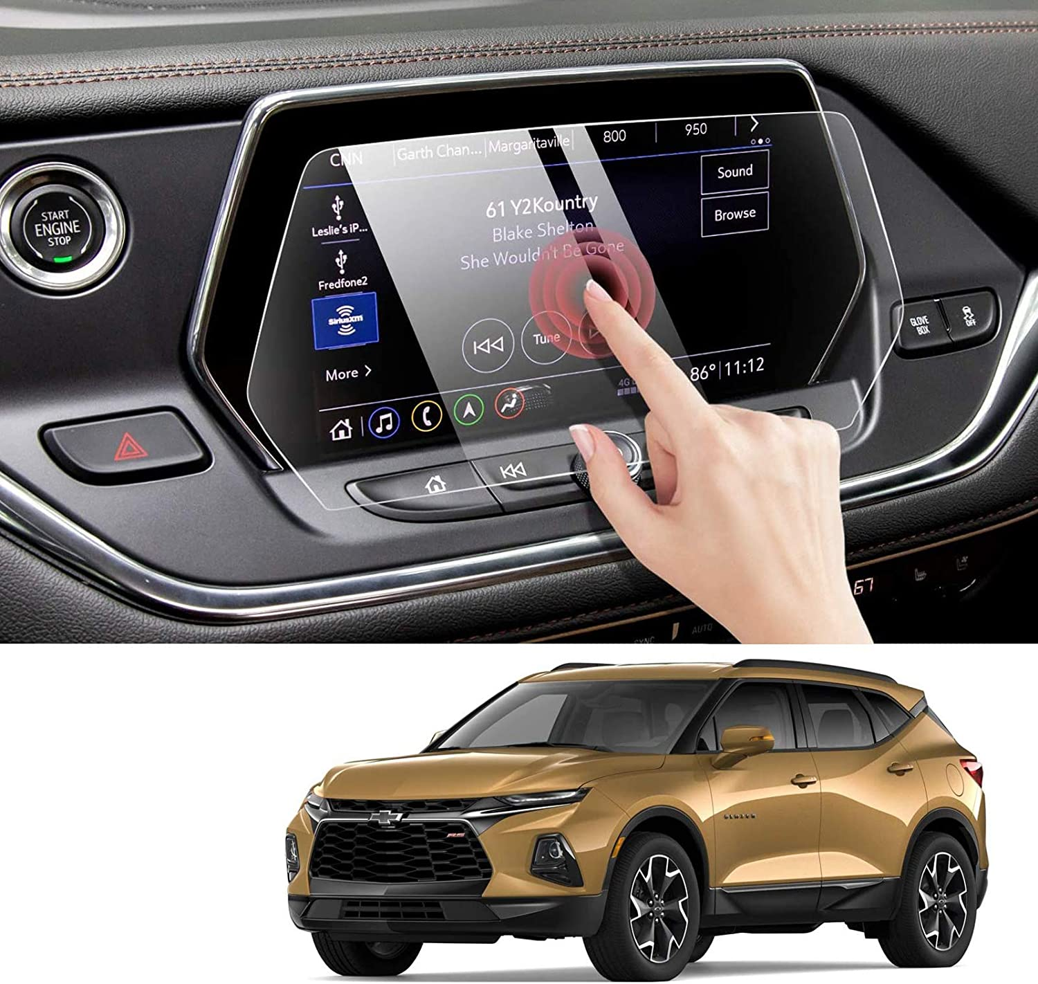 Moonlinks Blazer Screen Protector Compatible with Chevy Blazer 2019 2020 2021 2022,High Definition 9H Hardness Anti Glare Scratch Fingerprint Tempered Glass Touch Navigation Screen Protector (8 inch)